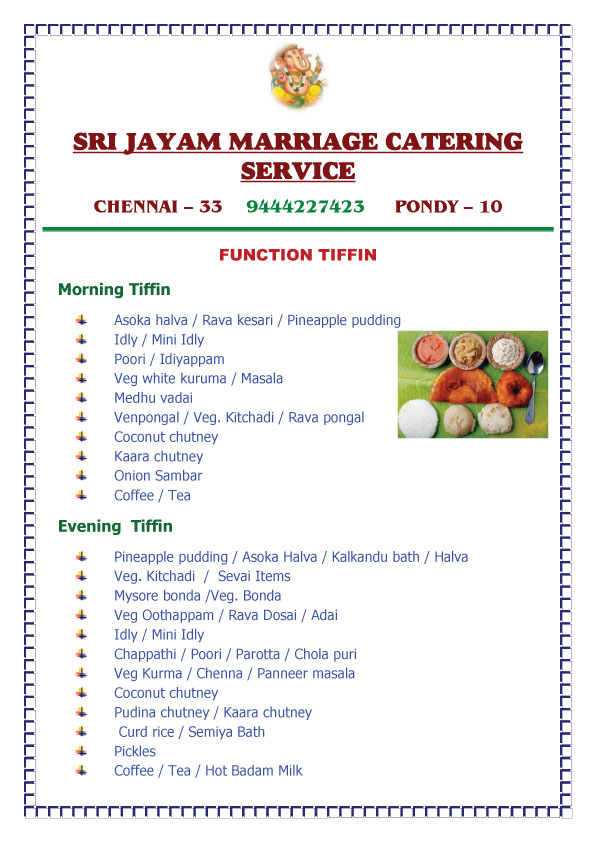 Marriage Catering Services in Chennai & Pondicherry | Veg Caterers